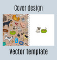 cover design with cute dogs pattern vector image vector image