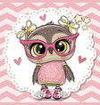 cute owl in pink eyeglasses vector image vector image