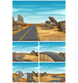 different scenes with road in desert land vector image
