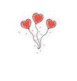 doodle heart shaped balloons for valentines day vector image vector image