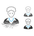 dust pixelated halftone blonde lady icon with face vector image vector image