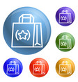 eco hand bag icons set vector image