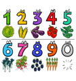 educational cartoon numbers set with food objects vector image vector image