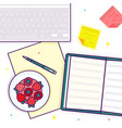 flat lay with open book strawberry keyboard and vector image
