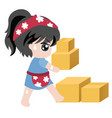 for businessmaid holding crate vector image vector image