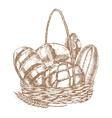 Fresh Bread Basket Hand Draw Sketch vector image vector image
