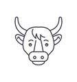 funny cow line icon concept funny cow vector image vector image