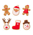 gingerbread man and santa claus ginger cookies vector image vector image