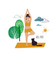 girl doing tree yoga pose with cat vector image vector image
