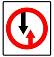 Give way to oncoming traffic sign road vector image vector image