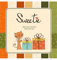 greeting card with cat and presents vector image