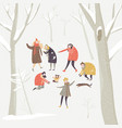 group happy people playing snowballs in the vector image