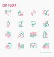 gut flora thin line icons set vector image