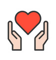 hand and heart healthcare icon set vector image vector image