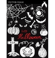 Hand Drawn Halloween Chalk Doodles Set vector image vector image
