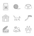 Happy cat life icons set outline style