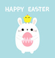 happy easter rabbit holding painting egg chicken vector image vector image