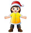 happy girl in yellow santa claus costume vector image vector image