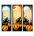 happy halloween banners with scary pumpkins vector image vector image