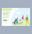 happy people with adopt dogs dont buy adopt vector image vector image