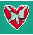 Heart with bow vector image vector image