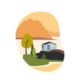 house with mountains and water vector image