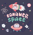 kawaii cute cats astronauts flying in space among vector image vector image