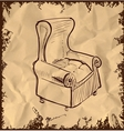 Leather armchair on vintage background vector image