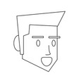 man face head in black and white vector image