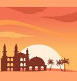mosque silhouette at sunset background vector image vector image