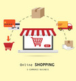 online shopping concept with icon flat elements vector image