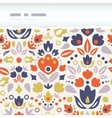 Ornamental folk tulips horizontal torn frame vector image vector image
