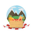 picnic basket food blanket mountains label vector image vector image