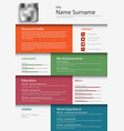 professional colored resume cv design bookmarks vector image vector image