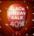 red balloon with black friday sale forty percent vector image vector image