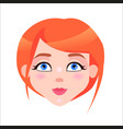 redhead woman calm face flat icon vector image vector image