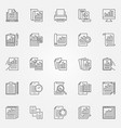 report icons set business report outline vector image