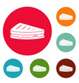 sandwich icons circle set vector image vector image