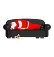 santa claus sleeping drinking whiskey drunk vector image vector image