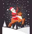 santa on deer christmas card vector image vector image