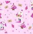 seamless new year pattern on pink background vector image vector image