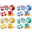 set of beach elements vector image