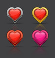set of glossy hearts vector image vector image