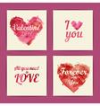 set watercolor valentine invitation cards vector image vector image