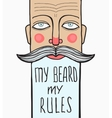 Slogan wrinkled bearded man portrait