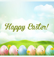 spring meadow background with easter colorful eggs vector image vector image