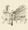 streets in Paris France vintage engraved vector image vector image