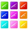 submachine gun set 9 vector image vector image