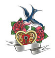 swallow with rose and heart tattoo vector image vector image