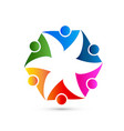 teamwork group people representing flower shape vector image vector image
